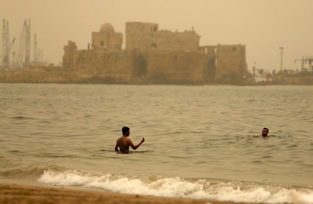 Residents swim during a sandstorm near the sea castle of the port-city of Sidon, Lebanon September 8, 2015. (Photo by Ali Hashisho/Reuters)