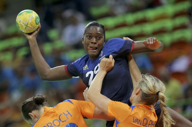 2016 Rio Olympics, Handball, Preliminary, Women's Preliminary Group B Netherlands vs France, Future Arena, Rio de Janeiro, Brazil on August 6, 2016. Gnonsiane Niombla (FRA) of France in action. (Photo by Marko Djurica/Reuters)