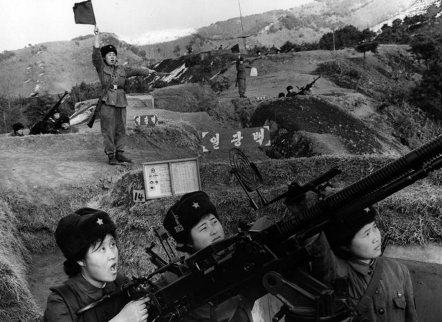 Female members of the North Korea Worker-Peasant Red Guards undertake air defense training in 1970. (Photo by AP Photo/Korea News Service)