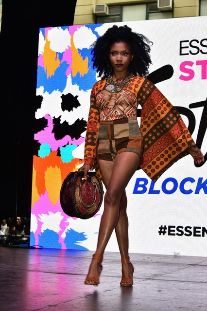 A model appears onstage during the 2015 Essence Street Style Block Party on September 13, 2015 in New York City. (Photo by Brian Killian/Getty Images for Essence)