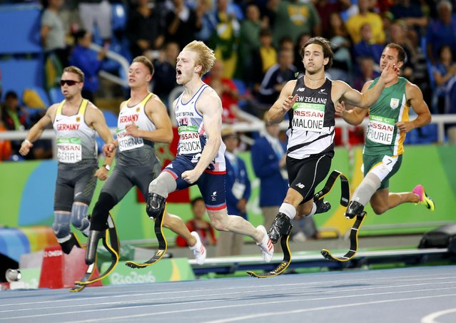 2016 Rio Paralympics, Men's 100m, T44 Final, Olympic Stadium, Rio de Janeiro, Brazil on September 9, 2016.  Jonnie Peacock of Britain (C) wins the gold medal in the event. (Photo by Ricardo Moraes/Reuters)