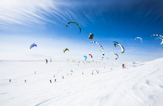 Participants perform during the Red Bull Ragnarok at Hardangervidda near Haugastol, Norway. (Photo by Mats Grimsæth/Red Bull/SWNS.com)