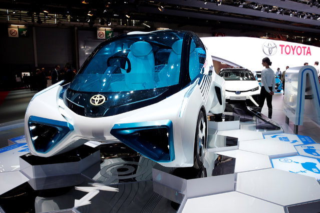 The Toyota FCV Plus fuel cell concept car is displayed on media day at the Paris auto show, in Paris, France, September 29, 2016. (Photo by Benoit Tessier/Reuters)