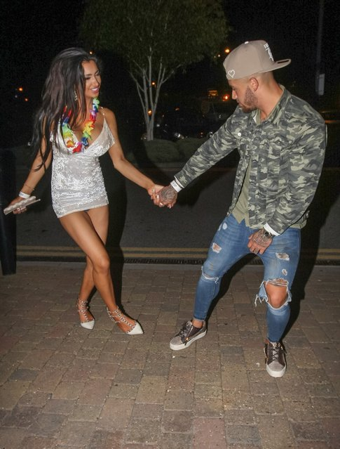 """UK """"Ex On The Beach"""" star Ashley Cain celebrates his birthday with girlfriend and ex """"Big Brother"""" star Chloe Khan at Gallery Nightclub in Maidstone, England, UK on September 25, 2016. (Photo by FameFlynet UK)"""