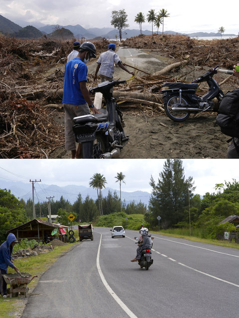 TOP IMAGE: Men prepare to move motorbikes over trees after the Tsunami in Leupung, 150 miles from southern Asia's massive earthquake's epicenter on Tuesday January 8 2005 in Leaping, Indonesia. BOTTOM IMAGE: Motorbikes ride down the road prior to the ten year anniversary of the 2004 earthquake and tsunami on December 13, 2014 in Leupung, Indonesia. (Photo by Stephen Boitano/Barcroft Media)