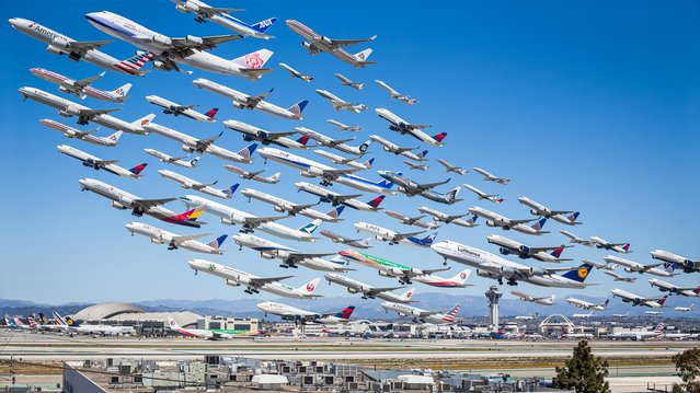 The architectural photographer was plane spotting at LAX airport in 2014 when he landed on the idea. (Photo by Mike Kelley/SWINS)