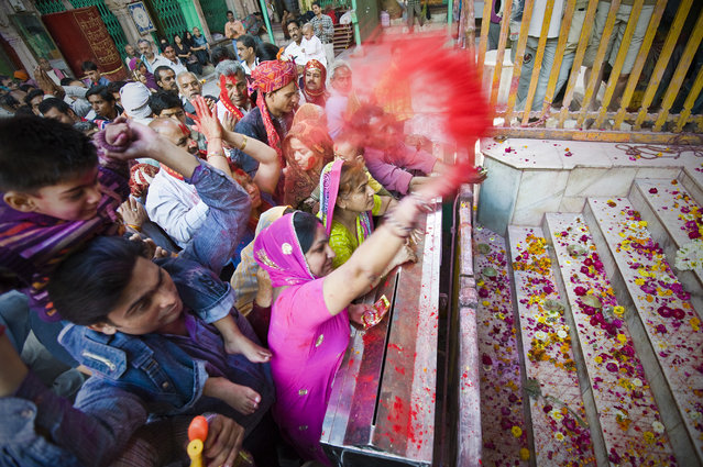 """Celebrates Holi"". Holi is a religious spring festival celebrated by Hindus. Holi is also known as Festival of Colours. It is celebrated by people throwing scented powder. Location: Mathura, India. (Photo and caption by Ng Hock How/National Geographic Traveler Photo Contest)"