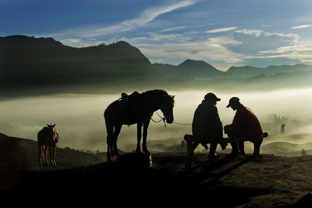 """""""Horsemen"""". Some of the Tengger people living around Mount Bromo work as horsemen in the mornings. The job is to lead tourists on the horses as close to the crater edge as possible. While waiting for their guests to descend from the the crater edge, this pair engages in quiet contemplative conversation as sun breaks over the horizon. Location: Mount Bromo, Indonesia. (Photo and caption by Ek Teck Leow/National Geographic Traveler Photo Contest)"""