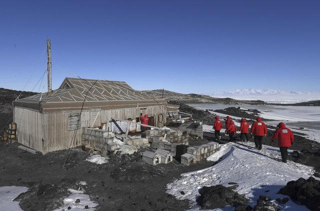 U.S. Secretary of State John Kerry and his delegation visit the historic Shackleton hut near McMurdo Station, Antarctica, Friday, November 11, 2016. (Photo by Mark Ralston/Pool Photo via AP Photo)