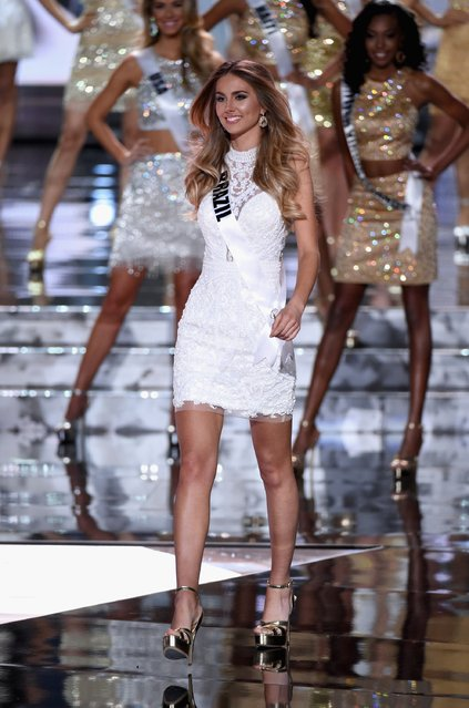 Top 15 contestant Miss Brazil 2015, Marthina Brandt, walks onstage during the 2015 Miss Universe Pageant at The Axis at Planet Hollywood Resort & Casino on December 20, 2015 in Las Vegas, Nevada. (Photo by Ethan Miller/Getty Images)