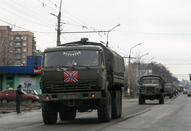 A row of trucks of the separatist self-proclaimed Donetsk People's Republic is seen in Makiivka, Donetsk region, February 4, 2015. (Photo by Maxim Shemetov/Reuters)