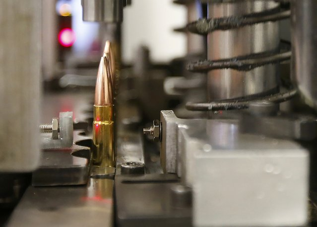 A machine assembles powder, cartridges and bullets tips together to make 300 AAC Blackouts at Barnes Bullets in Mona, Utah, January 6, 2015. (Photo by George Frey/Reuters)
