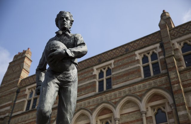 A statue of William Webb Ellis, who is widely credited with inventing the game of rugby, stands outside Rugby School in central England, March 18, 2015. Rugby School is known as the spiritual home of rugby. (Photo by Neil Hall/Reuters)