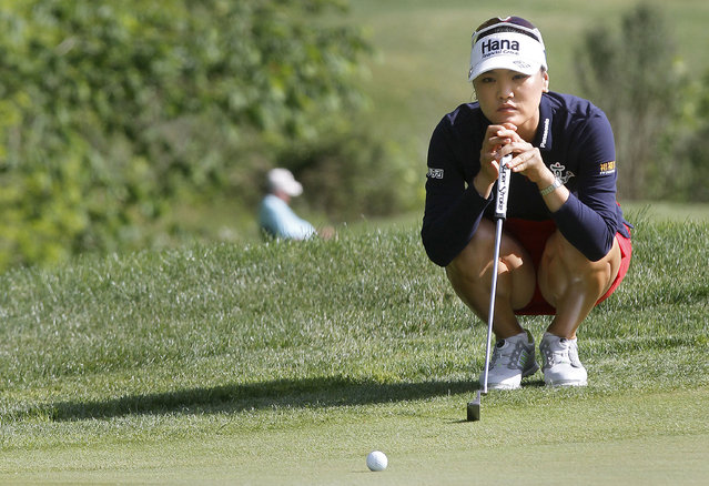 So Yeon Ryu, of South Korea, lines up her putt on 15th green during the second round of the Kingsmill Championship LPGA golf tournament in Williamsburg, Va., Friday, May 15, 2015. (Photo by Rob Ostermaier/The Daily Press via AP Photo