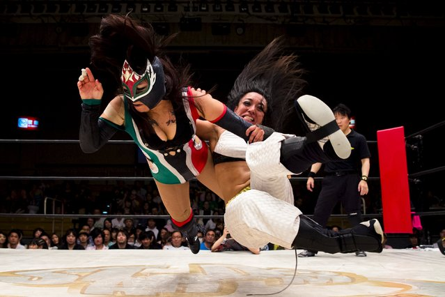 Wrestlers Kris Wolf and Starfire fight during their Stardom professional wrestling show at Korakuen Hall in Tokyo, Japan, July 26, 2015. (Photo by Thomas Peter/Reuters)