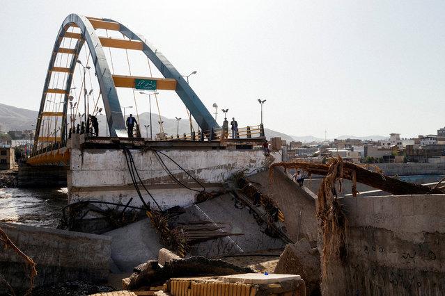 A bridge destroyed by flood is seen in Lorestan province, Iran, April 4, 2019. (Photo by Khashayar Javanmardi/Tasnim News Agency via Reuters)