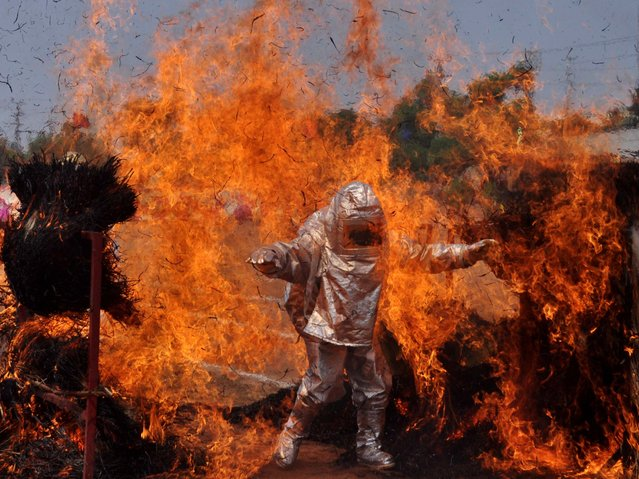 An Indian firefighter wearing a fire proximity suit walks through a wall of flames during a demonstration of their skills for Fire Safety Week in Bhubaneswar on April 15, 2014. Fire Safety Week runs April 14-20 across India. (Photo by Asit Kumar/AFP Photo)