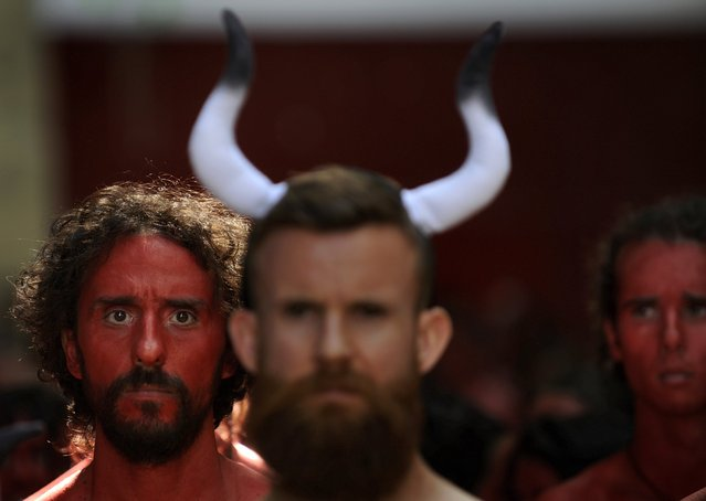 Animal rights protesters demonstrate for the abolition of bull runs and bullfights, three days before the start of the famous running of the bulls San Fermin festival in Pamplona, northern Spain, July 4, 2015. (Photo by Eloy Alonso/Reuters)