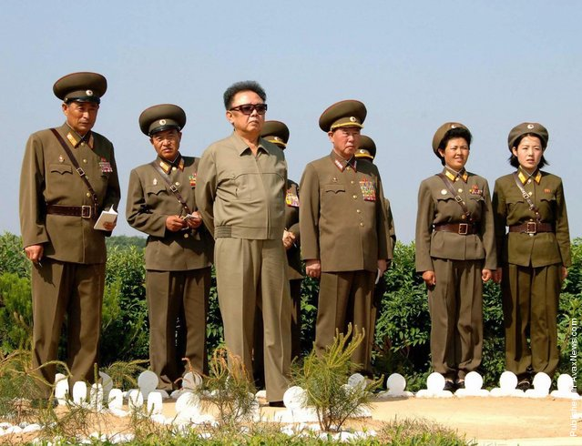 North Korean leader Kim Jong Il inspects a military unit in North Korea