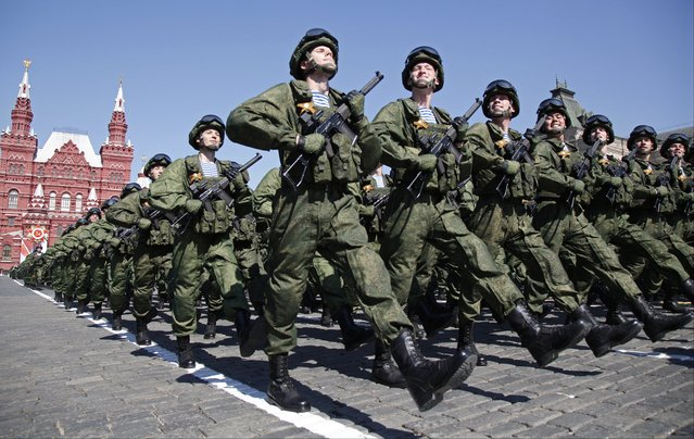 Russian soldiers march during the Victory Day military parade marking 71 years after the victory in WWII in Red Square in Moscow, Russia, Monday, May 9, 2016. In the back is the State Historical Museum. (Photo by Alexander Zemlianichenko/AP Photo)