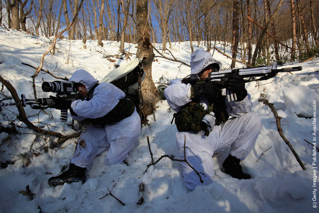 South Korean Special Forces Participate In Winter Training Exercises