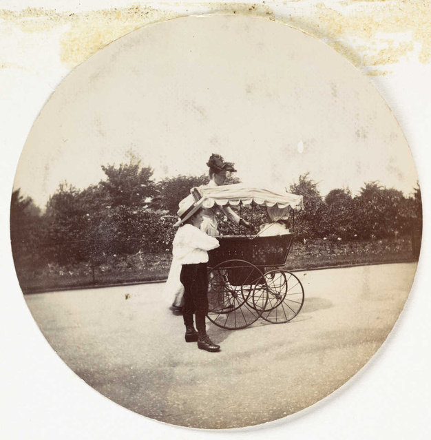 Woman, boy and a pram, about 1890. (Photo by Collection of National Media Museum/Kodak Museum)