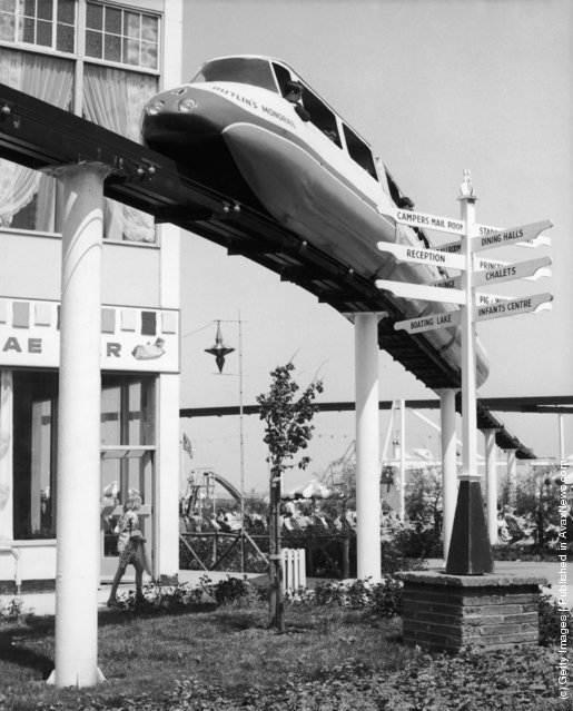 A monorail train at Butlin's holiday camp at Minehead, Somerset, circa 1967