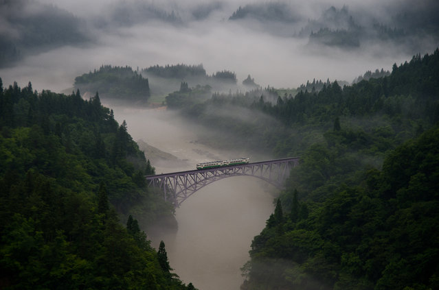 """""""The First Train"""". Taken at Mishima town in Fukushima prefecture, Japan. The first train goes across the railway bridge through in morning mist. The train moves forward little by little slowly. Photo location: Mishima, Fukushima Pref, Japan. (Photo and caption by Teruo Araya/National Geographic Photo Contest)"""