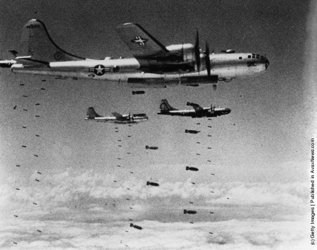 US Air Force B-29 Superfortresses dropping  bombs on a strategic target during the Korean War, 1951
