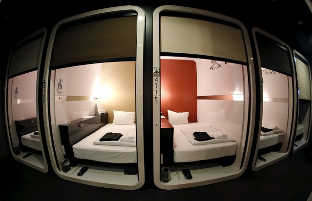 """Business-class"" cabins are seen at First Cabin hotel, which was converted from an old office building, in Tokyo, July 3, 2015. (Photo by Toru Hanai/Reuters)"
