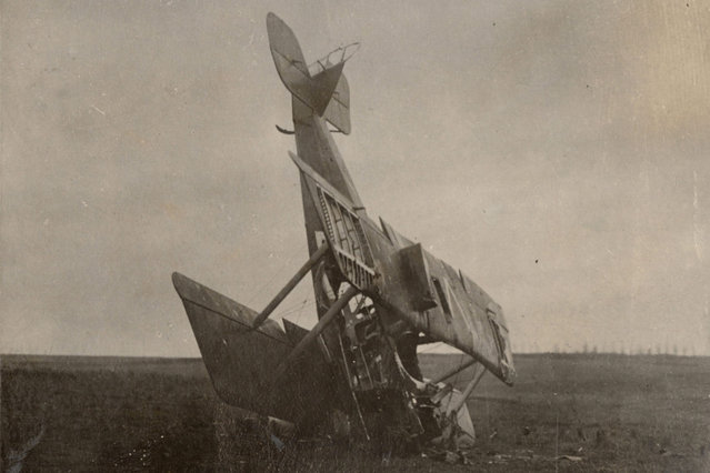 A German seaplane is pictured after crashing in an unknown location, in this 1916 handout picture. This picture is part of a previously unpublished set of World War One (WWI) images from a private collection. The pictures offer an unusual view of varied and contrasting aspects of the conflict, from high tech artillery to mobile pigeon lofts, and from officers partying in their headquarters to the grim reality of life and death in the trenches. The year 2014 marks the centenary of the start of the war. (Photo by Reuters/Archive of Modern Conflict London)