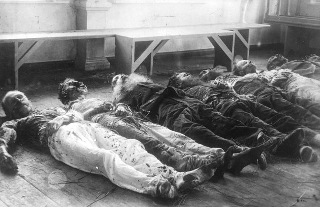 Maimed corpses of victims of communist uprisings in Dorpat, Germany, lying in a room, 1918. (Photo by Three Lions/Getty Images)