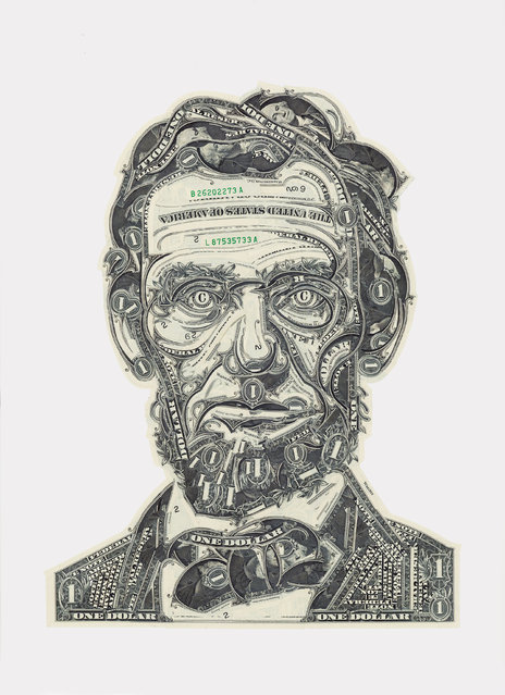 Lincoln, cut one-dollar bills. (Photo by Mark Wagner)