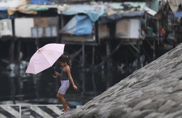 A Filipino girl walks with an umbrella as they prepare for incoming Typhoon Rammasun beside Manila's bay, Philippines on Tuesday, July 15, 2014. Haunted by the memories of Typhoon Haiyan's deadly fury last year, tens of thousands of villagers fled from disaster-prone areas Tuesday as Typhoon Rammasun blew closer toward the northeastern Philippines. (Photo by Aaron Favila/AP Photo)