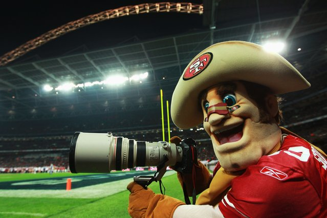 San Francisco 49ers Sourdough Sam jokes with a camera during the NFL International Series match between Denver Broncos and San Francisco 49ers at Wembley Stadium on October 31, 2010 in London, England.  (Photo by Warren Little/Getty Images)