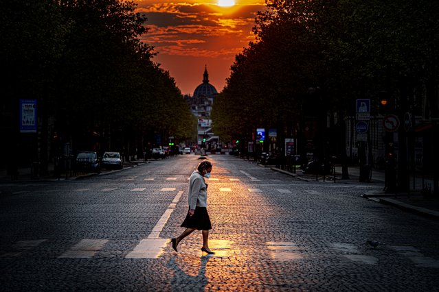 An empty Paris on April 12, 2020 – people are only allowed on the street for 1 hour a day and 1 kilometer from their house to do their shopping. (Photo by Robin Utrecht/SIPA Press)