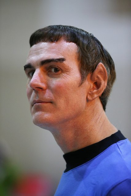"""Bob Robertson, dressed as Mister Spock, who has traveled from Vermont, USA, arrives to attend the """"Destination Star Trek London"""" convention at the ExCeL centre on October 19, 2012 in London, England. The three-day convention, which opened to the general public today, will be attended by all five actors who played captains throughout the 46-year-old series.  (Photo by Oli Scarff)"""