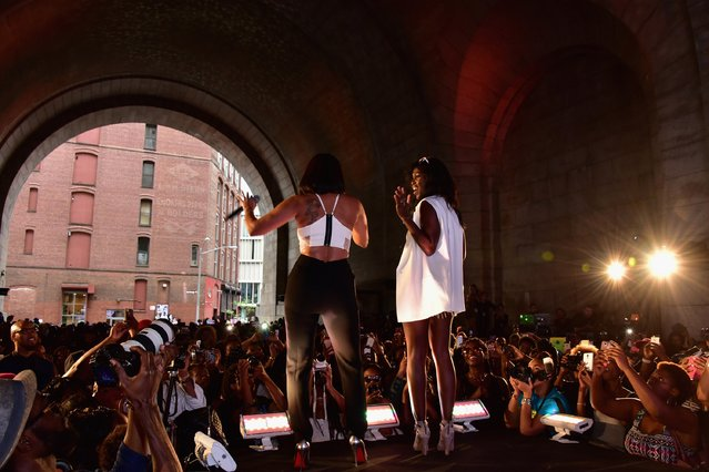 Singer Mel B (L) and fashion editor at Essence Magazine, Joiee Thorpe speak onstage during the 2015 Essence Street Style Block Party on September 13, 2015 in New York City. (Photo by Brian Killian/Getty Images for Essence)