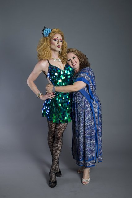 Drag queen Yuval Shimron (L), who goes by the stage name Lolly Pott, and his sister Tal Lavi pose for a photo in a studio in Tel Aviv July 4, 2015. (Photo by Baz Ratner/Reuters)