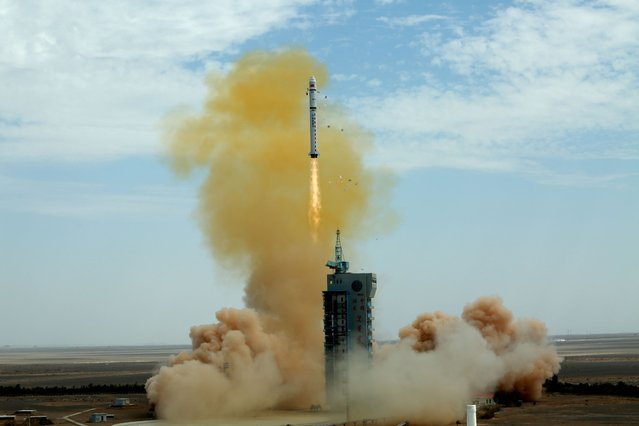 The Long March 2D carrier rocket from the Jiuquan Satellite Launch Center successfully put the Gaofen-9 04 satellite into orbit. The mission also carried the Tsinghua Science Satellite. Jiuquan City, Gansu Province, China, August 6, 2020. (Photo by Costfoto/Barcroft Media via Getty Images)