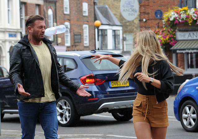 UK Big Brother 2016 Winner Jason Burrill and Aisleyne Horgan Wallace pictured having a heated arguement in the middle of the street in Highgate, London afternoon September 11, 2016. Aisleyne was seen throwing a bottle of water in Jasons face. (Photo by KP Pictures)
