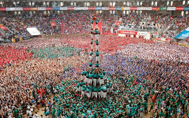 """Castellers de Vilafranca form a human tower called """"castell"""" during a biannual competition in Tarragona city, Spain October 2, 2016. (Photo by Albert Gea/Reuters)"""