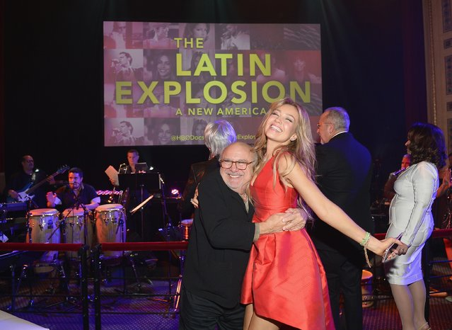 "Danny Devito and Thalia attends the ""The Latin Explosion: A New America,"" Premiere Screening  on November 10, 2015 in New York City. (Photo by Gustavo Caballero/Getty Images for HBO Latino)"