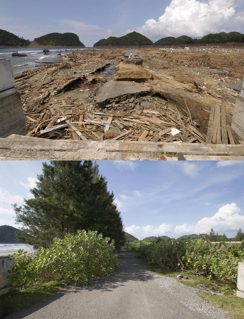 TOP IMAGE: A washed out bridge and completely destroyed village after the Tsunami in Leupung, 150 miles from southern Asia's massive earthquake's epicenter on Tuesday January 8 2005 in Leaping, Indonesia. BOTTOM IMAGE: A rebuilt bridge and new roadway to right prior to the ten year anniversary of the 2004 earthquake and tsunami on December 13, 2014 in Leupung, Indonesia. (Photo by Stephen Boitano/Barcroft Media)