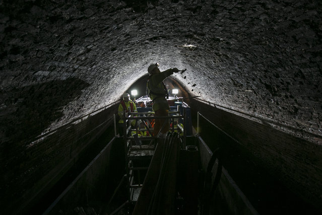 The 4million bricks that make up London's longest canal tunnel are inspected today. The bricks date back to the 1800s when the Islington Tunnel on the Regent's Canal was built. The work is part of a £45million programme being spent by the Canal & River Trust this winter to repair and restore the nation's waterways at The Regent's Canal on December 1, 2015 in London, England. (Photo by John Phillips/Getty Images for Canal & River Trust)