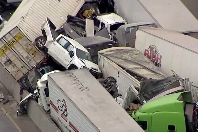 Vehicles are piled up after a fatal crash on Interstate 35 near Fort Worth, Texas on Thursday, February 11, 2021. The massive crash involving 75 to 100 vehicles on an icy Texas interstate killed some and injured others, police said, as a winter storm dropped freezing rain, sleet and snow on parts of the U.S. (Photo  by NBC5 via Reuters)