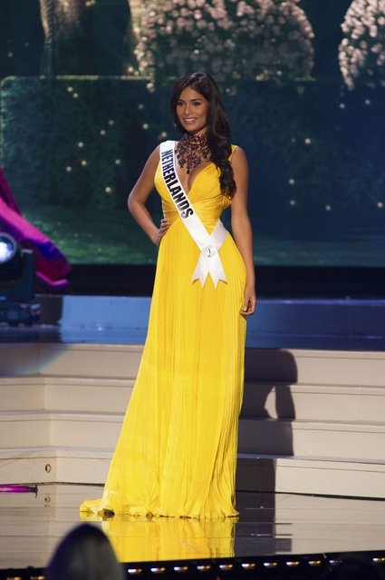 Yasmin Verheijen, Miss Netherlands 2014 competes on stage in her evening gown during the Miss Universe Preliminary Show in Miami, Florida in this January 21, 2015 handout photo. (Photo by Reuters/Miss Universe Organization)