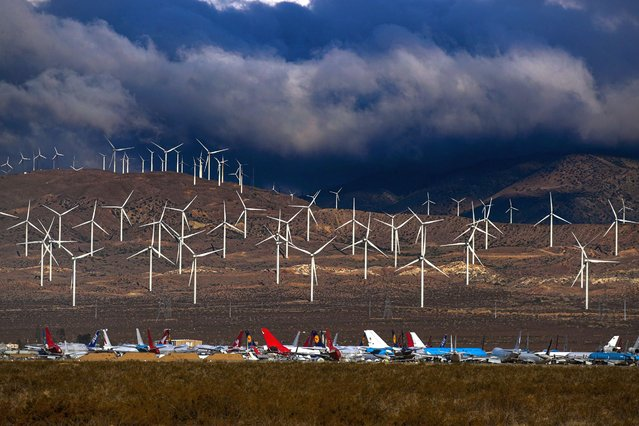 A view of wind turbines viewed from Highway 58 on Tuesday, March 23, 2021 in Mojave, CA. (Photo by Irfan Khan/Los Angeles Times/Rex Features/Shutterstock)