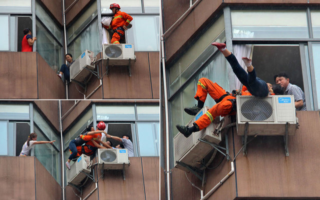 The incident happened in Tongren City, southwest China's Guizhou Province, on August 20, 2013. The woman, who's wrist was also cut, swayed and looked as if she was about to jump, before she was suddenly grabbed by the firefighter, who was wearing a rope harness. After a short tussle, he managed to throw himself onto a ventilation unit with the woman in his arms before the pair were bundled through an open window. The woman was reportedly taken to hospital for treatment. (Photos by Reuters/China Daily)