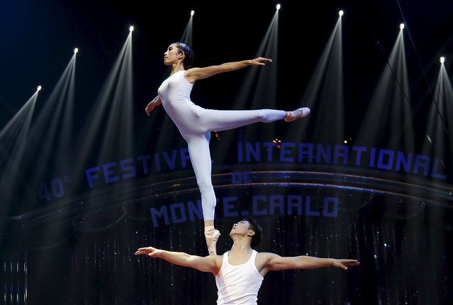 The Guangzhou Military Region Soldier Acrobatic Troupe performs during the opening of the 40th Monte-Carlo International Circus Festival in Monaco January 14, 2016. (Photo by Eric Gaillard/Reuters)